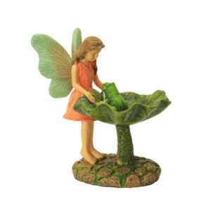 Standing Fairy with Leaf Bird Bath